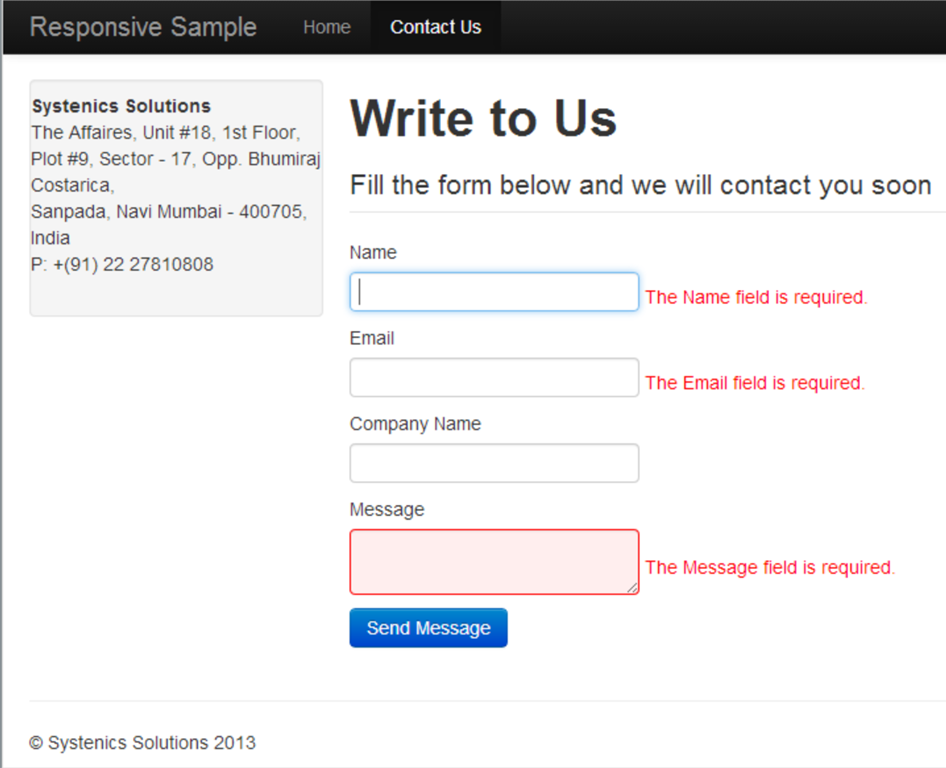 Creating An Ajax Enabled Contact Form In Umbraco 6 With Asp Mvc