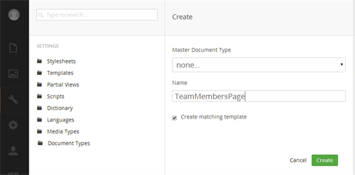 Create new Document Type 'TeamMemberPage'